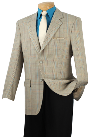 100% Super Wool, Single breasted 2 buttons sportcoat with center vent.