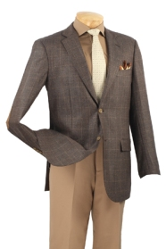 100% Super Wool, Single breasted 2 buttons sport coat with elbow patch, side vents.